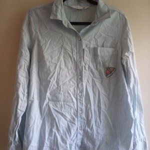 Chambray button down with embroidered butterfly